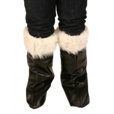 Boot Covers Santa Black with White Fur