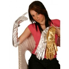 Gloves Ladies Gold Metallic Long Large