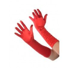 Gloves Ladies Ruffle Red Long