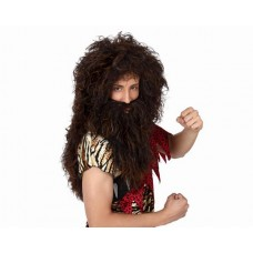 Hair Wig & Beard Caveman Brown