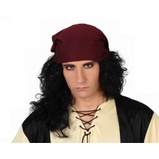 Hair Wig Pirate Long Curling with Bandan