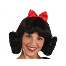 Hair Wig Brown Mid Length with Red Bow