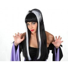 Black & White Long Wig with Spider
