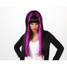 Black & Purple Long Wig with Spider