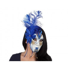 Mask Venetain with Blue Feather