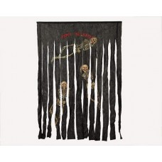 Decorative Curtain Black with Skeletons