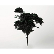 Decoration Rose Black Bouquet with Green