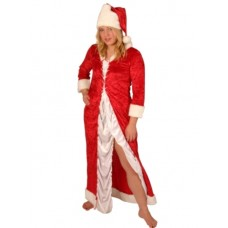 Santa Miss Velvet Long Red & White Dress