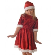 Costume Santa Girls Velvet Dress 3-5 Yea