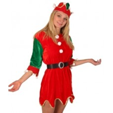 Costume Elf Dress & Hat Red/Green  Med