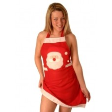 Apron Christmas Red Felt with Flashing L