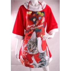 Apron Red with Cat & Christmas Decoratio