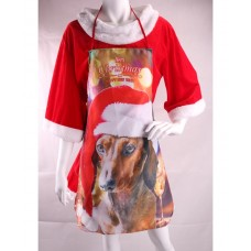 Apron Red with Dog & Christmas Decoratio