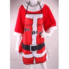 Apron Red with Ho Ho Ho Decoration