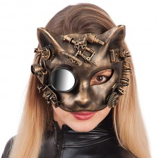 Mask Half Face Steampunk Cat Gold