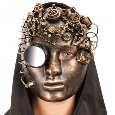 Mask Face Steampunk Gold with Mirror
