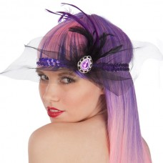 Head Dress Charleston Bk & Net + Feather