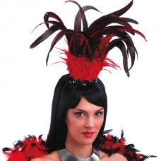 Head Piece with Red & Black Feather
