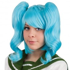 Hair wig with ponytails Blue Light