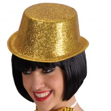 Top Hat Glitter Plastic 10cm Gold