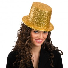 Top Hat Glitter Plastic 13cm Gold