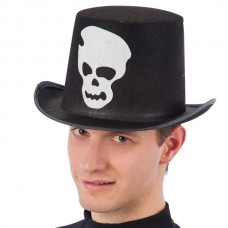 Top Hat Felt Black with Printed Skull