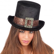 Hat Top Velvet Black Steampunk