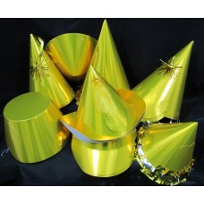 Foil Party Hats Asstd Shapes Gold 20's