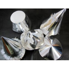 Foil Party Hats Asstd Shapes Silver 20's