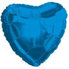 Balloon Foil - Heart Metallic Blue