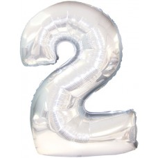 Balloon Foil - Number 2 Silver