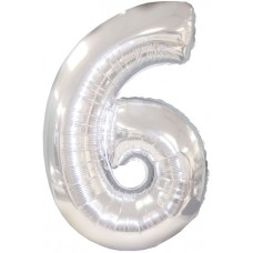 Balloon Foil - Number 6 Silver