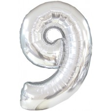 Balloon Foil - Number 9 Silver