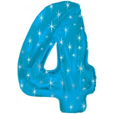 Balloon Foil - Number 4 Blue Sparkle