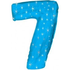 Balloon Foil - Number 7 Blue Sparkle