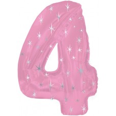Balloon Foil - Number 4 Pink Sparkle