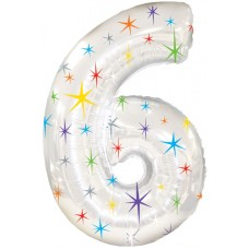 Balloon Foil - Number 6 Multi Sparkle