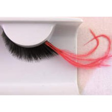Black Eye Lash with Feather Long Red