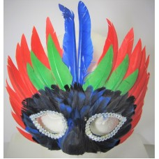 Mask Feather 3 Tier Red & Green