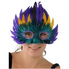 Mask Feather 3 Tier Purple & Yellow