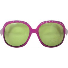 Party Glasses Large Pink with Green Lens