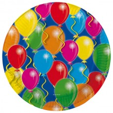Balloon Design Plates Card 23cm 8's