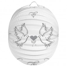 Party Lantern White Doves 22cm