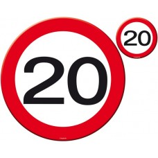 Traffic Sign 20th Party Place Mat & Coas
