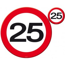 Traffic Sign 25th Party Place Mat & Coa