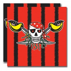Pirate Red Birthday Napkins 33cm 20's