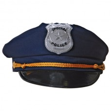 Hat Police Blue with Badge & Gold Band