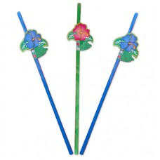 Straws with Flowers 24cm 8's