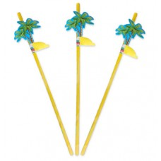 Party Straws with Palmtree 24cm 8's