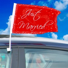 Just Married Car Flag  Red